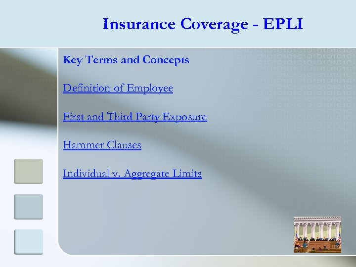 Insurance Coverage - EPLI Key Terms and Concepts Definition of Employee First and Third