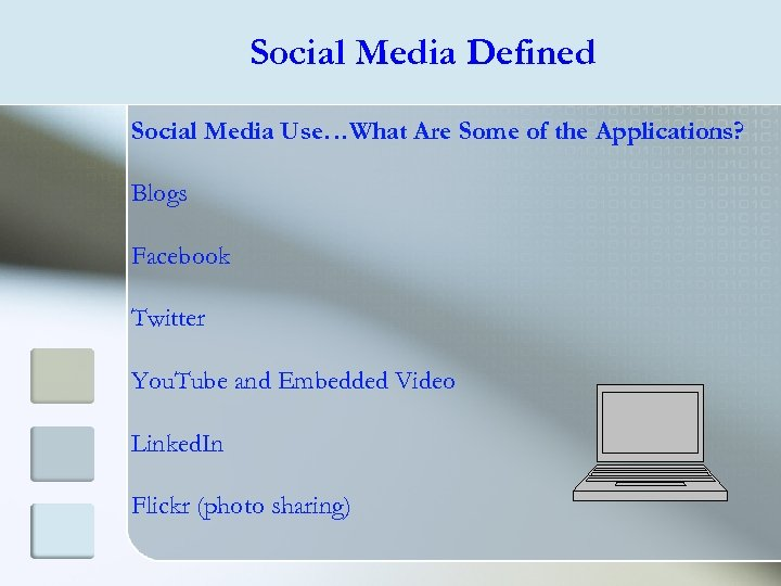 Social Media Defined Social Media Use…What Are Some of the Applications? Blogs Facebook Twitter