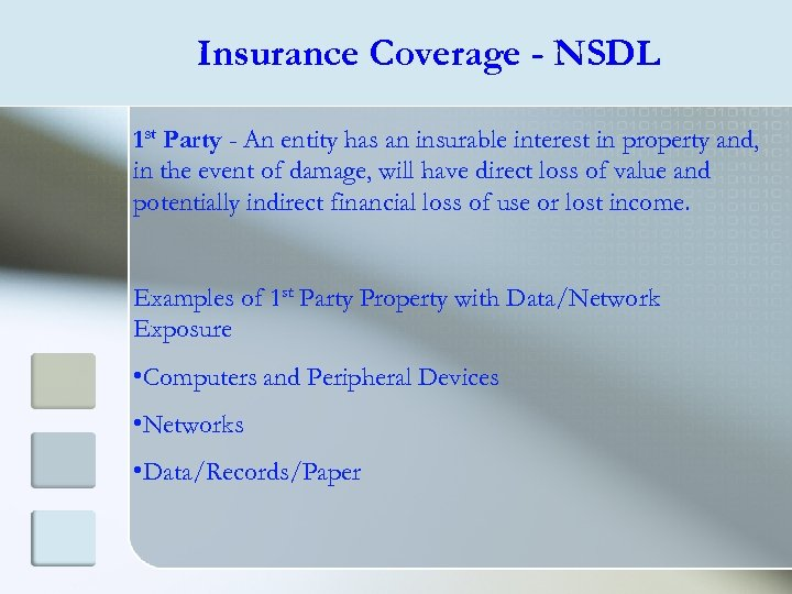 Insurance Coverage - NSDL 1 st Party - An entity has an insurable interest
