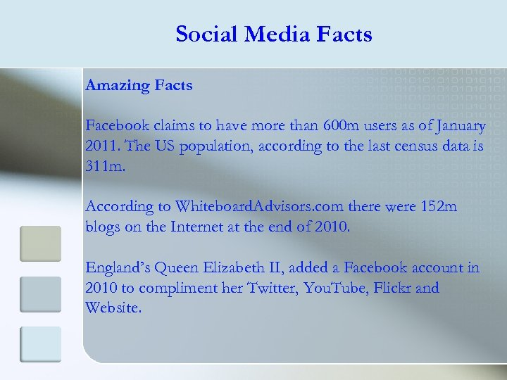 Social Media Facts Amazing Facts Facebook claims to have more than 600 m users