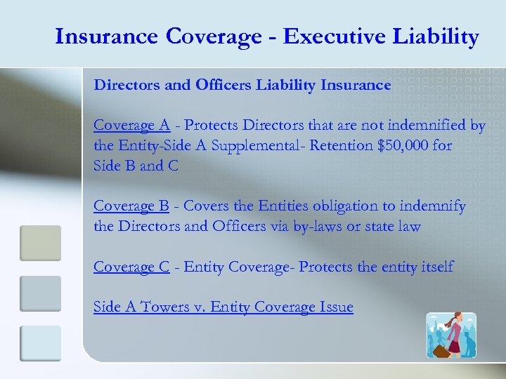 Insurance Coverage - Executive Liability Directors and Officers Liability Insurance Coverage A - Protects
