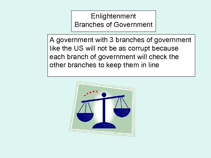 Enlightenment Branches of Government A government with 3 branches of government like the US