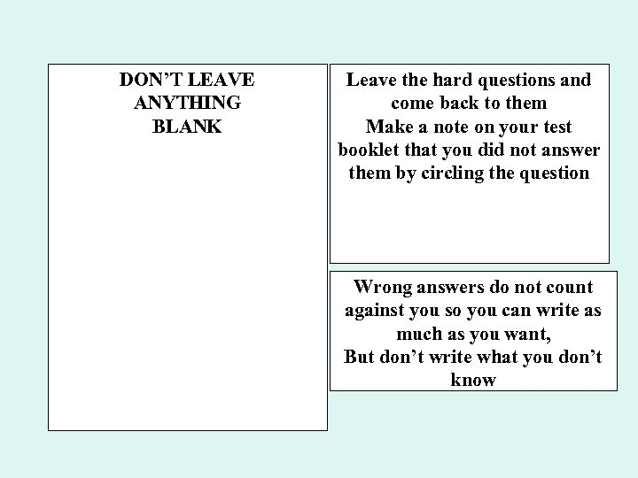 DON'T LEAVE ANYTHING BLANK Leave the hard questions and come back to them Make