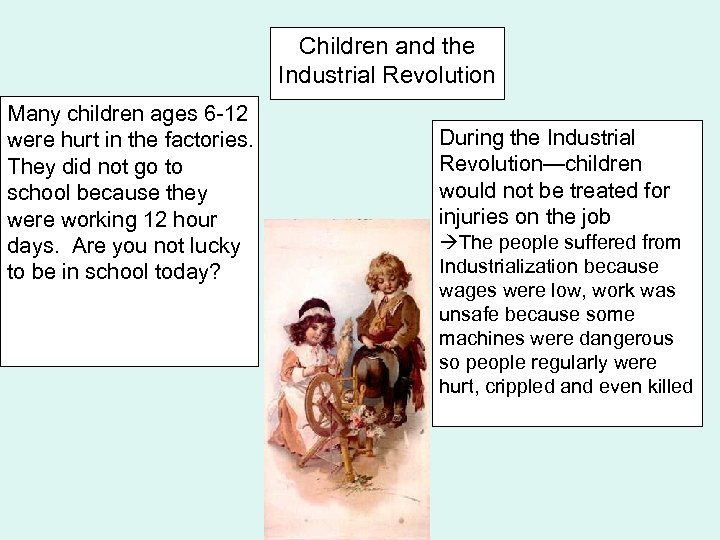 Children and the Industrial Revolution Many children ages 6 -12 were hurt in the