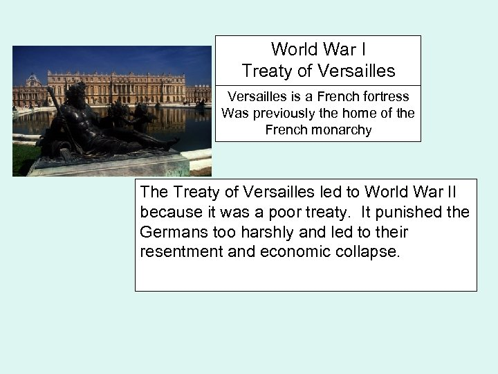 World War I Treaty of Versailles is a French fortress Was previously the home