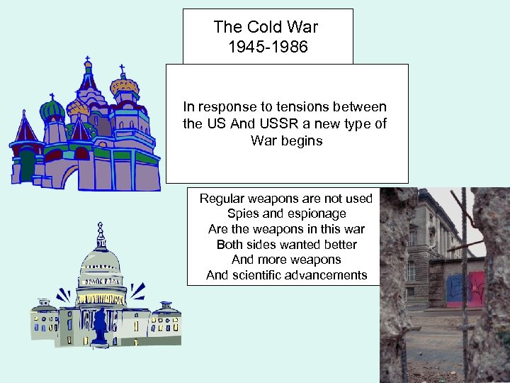 The Cold War 1945 -1986 In response to tensions between the US And USSR