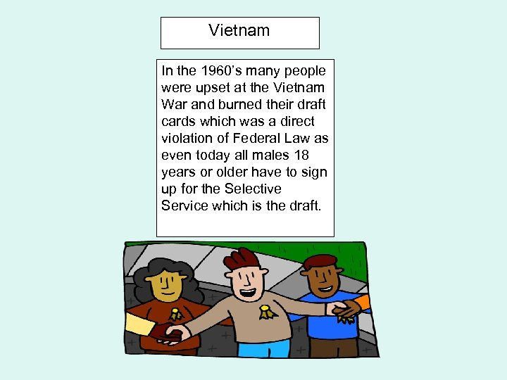 Vietnam In the 1960's many people were upset at the Vietnam War and burned