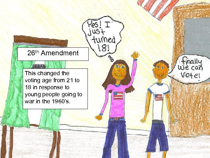 26 th Amendment This changed the voting age from 21 to 18 in response