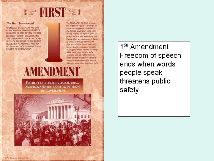 1 St Amendment Freedom of speech ends when words people speak threatens public safety