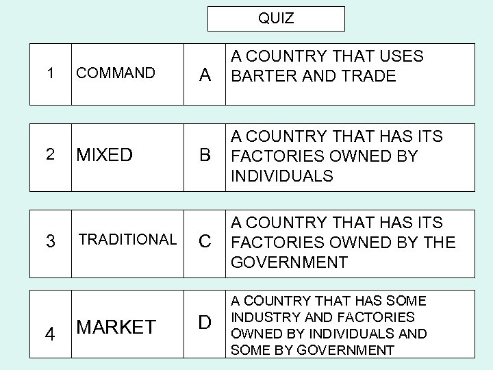 QUIZ 1 2 3 4 COMMAND MIXED TRADITIONAL MARKET A A COUNTRY THAT USES