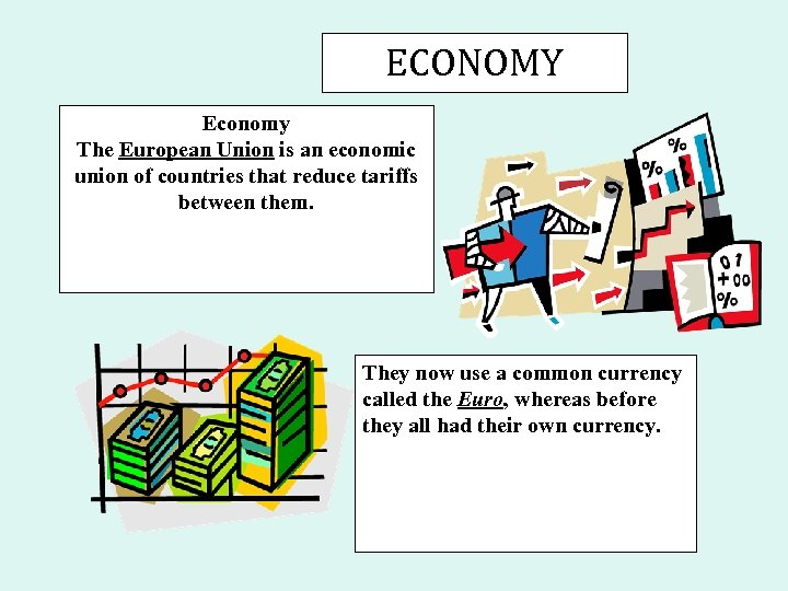 ECONOMY Economy The European Union is an economic union of countries that reduce tariffs