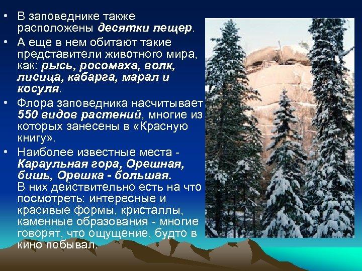 • В заповеднике также расположены десятки пещер • А еще в нем обитают