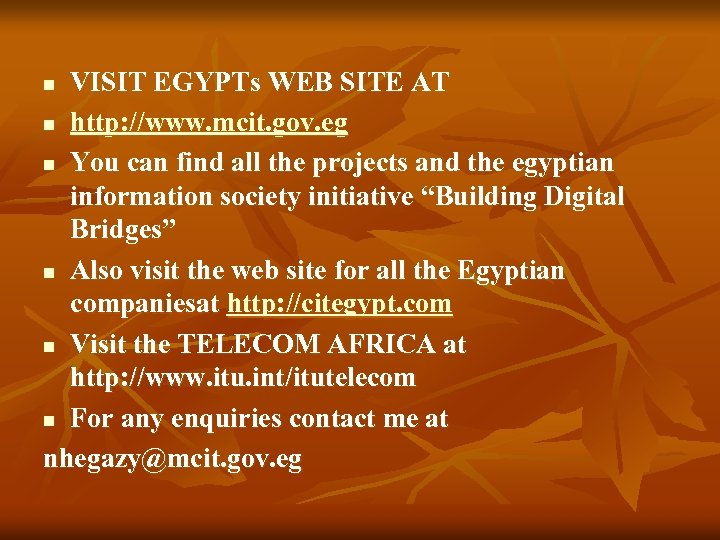 VISIT EGYPTs WEB SITE AT n http: //www. mcit. gov. eg n You can