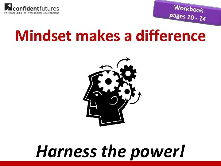 Workbook pages 10 14 Mindset makes a difference Harness the power!