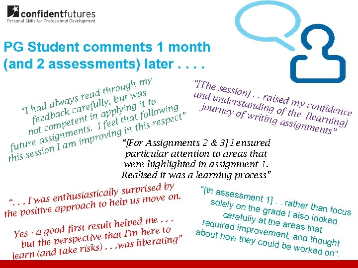 "PG Student comments 1 month (and 2 assessments) later. . ""[The my ugh ses"