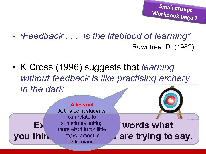 "Small grou ps Workbook page 2 • ""Feedback . . . is the lifeblood"