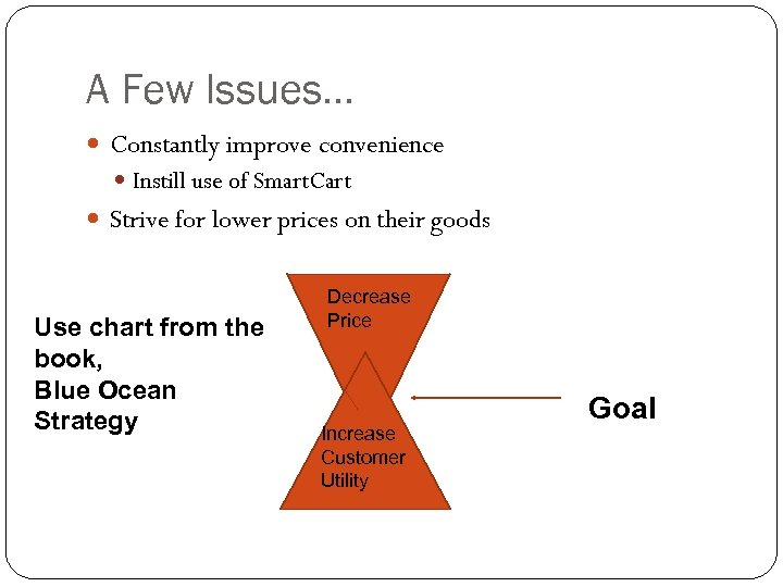 A Few Issues… Constantly improve convenience Instill use of Smart. Cart Strive for lower