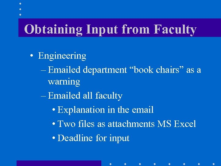 """Obtaining Input from Faculty • Engineering – Emailed department """"book chairs"""" as a warning"""