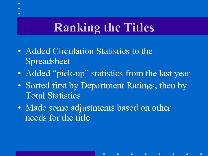 """Ranking the Titles • Added Circulation Statistics to the Spreadsheet • Added """"pick-up"""" statistics"""