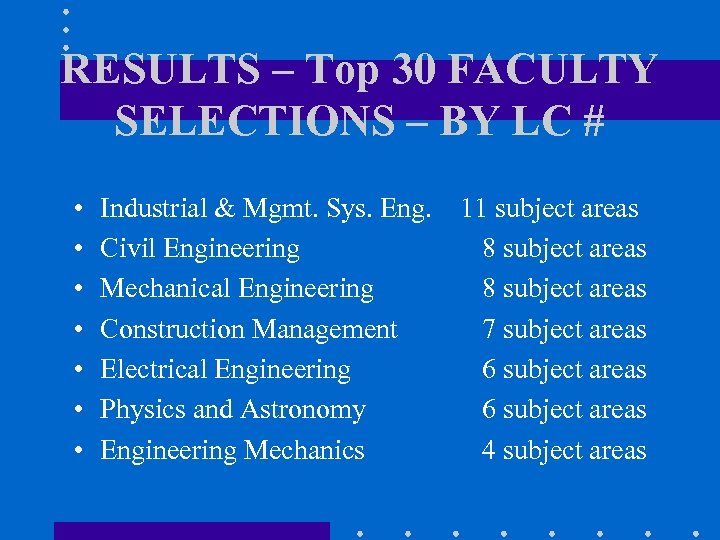 RESULTS – Top 30 FACULTY SELECTIONS – BY LC # • • Industrial &