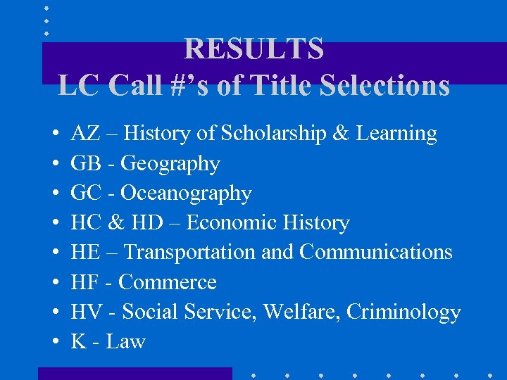 RESULTS LC Call #'s of Title Selections • • AZ – History of Scholarship