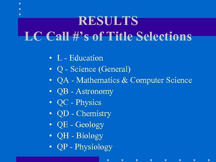 RESULTS LC Call #'s of Title Selections • • • L - Education Q