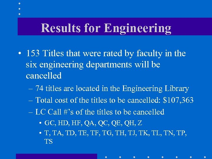 Results for Engineering • 153 Titles that were rated by faculty in the six