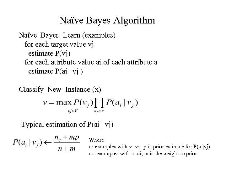 Naïve Bayes Algorithm Naïve_Bayes_Learn (examples) for each target value vj estimate P(vj) for each