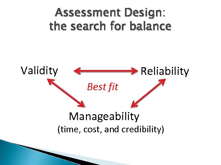 Assessment Design: the search for balance Validity Reliability Best fit Manageability (time, cost, and