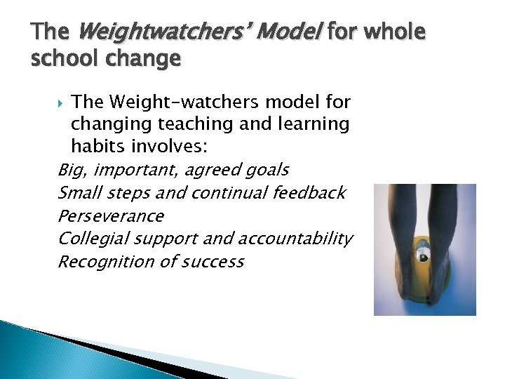 The Weightwatchers' Model for whole school change The Weight-watchers model for changing teaching and