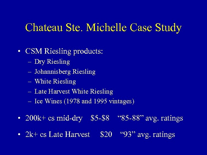 Chateau Ste. Michelle Case Study • CSM Riesling products: – – – Dry Riesling
