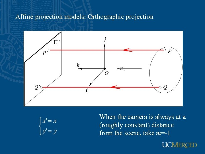 Affine projection models: Orthographic projection When the camera is always at a (roughly constant)