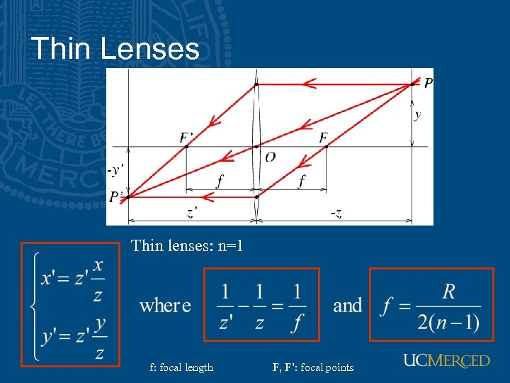 Thin Lenses Thin lenses: n=1 f: focal length F, F': focal points
