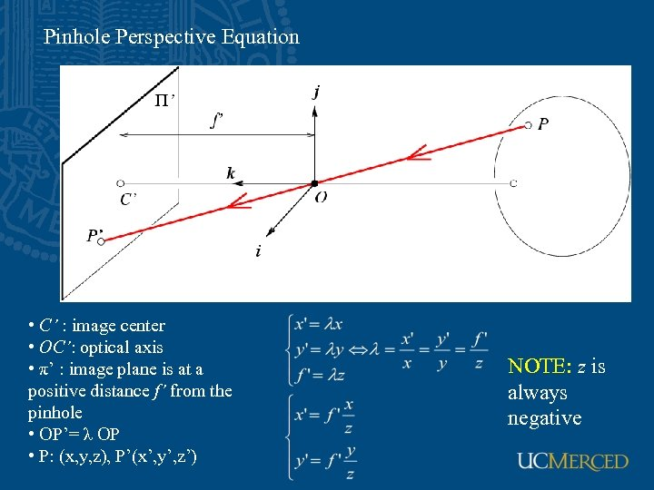 Pinhole Perspective Equation • C' : image center • OC': optical axis • π'