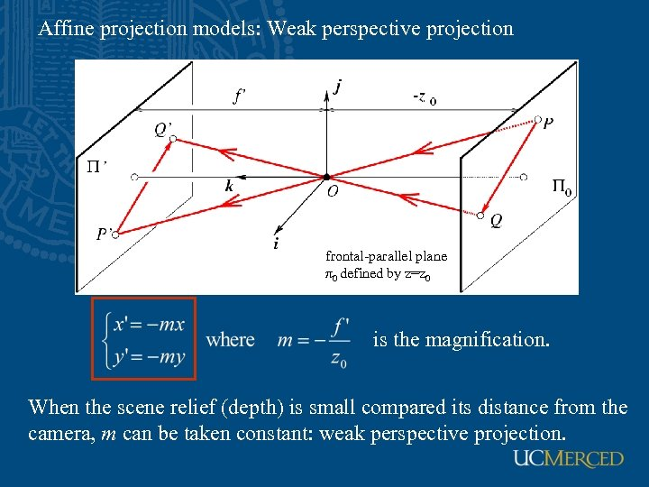 Affine projection models: Weak perspective projection frontal-parallel plane π0 defined by z=z 0 is
