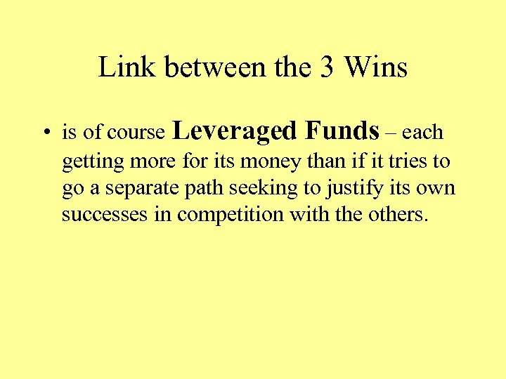Link between the 3 Wins • is of course Leveraged Funds – each getting