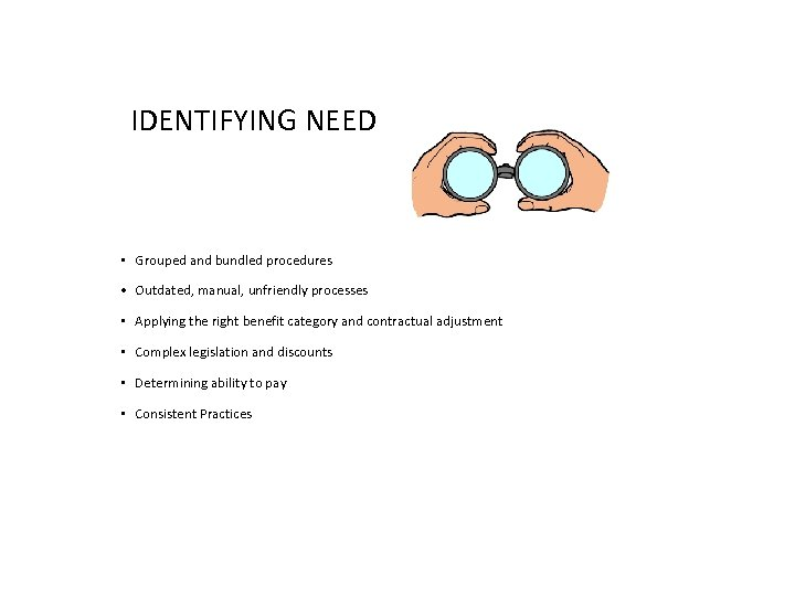 IDENTIFYING NEED • Grouped and bundled procedures • Outdated, manual, unfriendly processes • Applying
