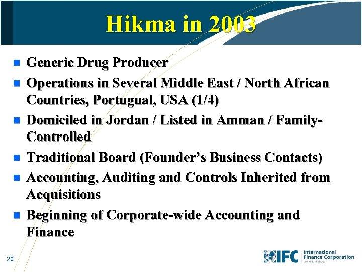 Hikma in 2003 n n n 20 Generic Drug Producer Operations in Several Middle