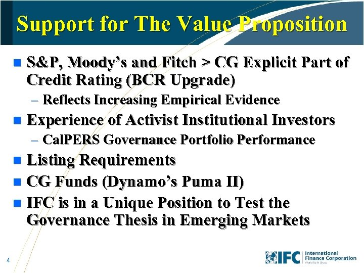 Support for The Value Proposition n S&P, Moody's and Fitch > CG Explicit Part