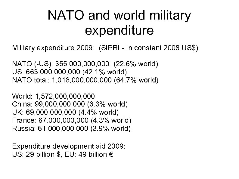 NATO and world military expenditure Military expenditure 2009: (SIPRI - In constant 2008 US$)
