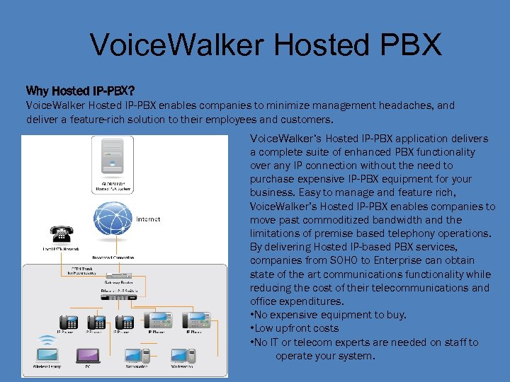 Voice. Walker Hosted PBX Why Hosted IP-PBX? Voice. Walker Hosted IP-PBX enables companies to