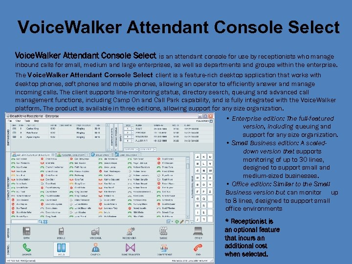 Voice. Walker Attendant Console Select is an attendant console for use by receptionists who