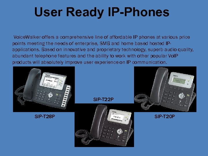 User Ready IP-Phones Voice. Walker offers a comprehensive line of affordable IP phones at