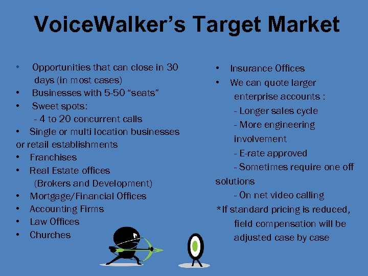 Voice. Walker's Target Market • Opportunities that can close in 30 days (in most