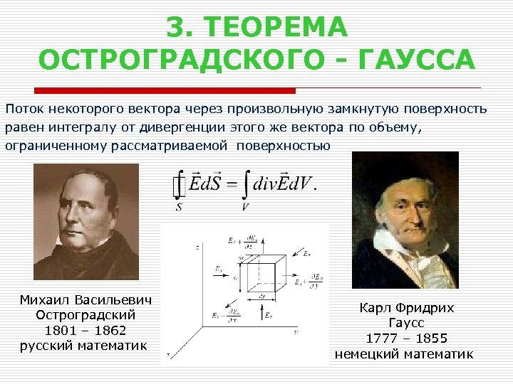 3. ТЕОРЕМА ОСТРОГРАДСКОГО - ГАУССА Поток некоторого вектора через произвольную замкнутую поверхность равен интегралу