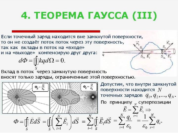 4. ТЕОРЕМА ГАУССА (III) Если точечный заряд находится вне замкнутой поверхности, то он не
