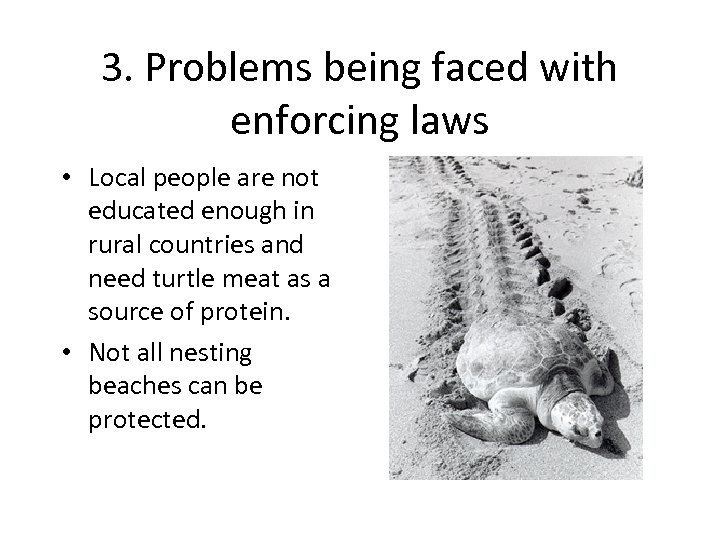 3. Problems being faced with enforcing laws • Local people are not educated enough
