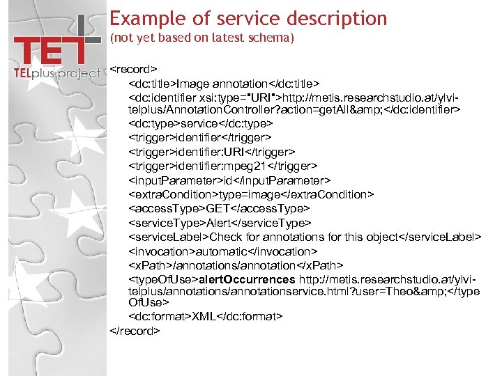 Example of service description (not yet based on latest schema) <record> <dc: title>Image annotation</dc: