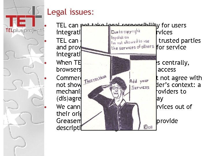 Legal issues: • • • TEL can not take legal responsibility for users integrating