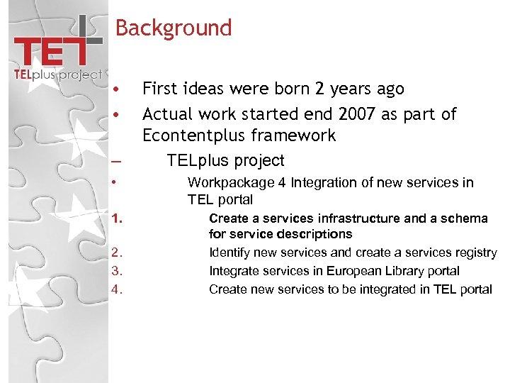 Background • • – • 1. 2. 3. 4. First ideas were born 2